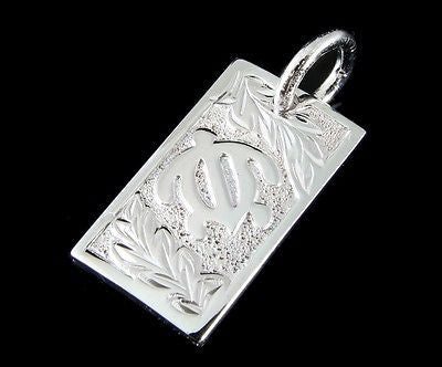 HEAVY SILVER 925 HAWAIIAN HONU TURTLE MAILE LEAF LEAVES VERTICAL PLATE PENDANT