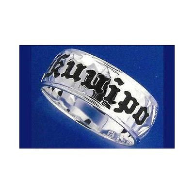 6MM SILVER 925 HAWAIIAN RING PLUMERIA SCROLL BLACK KUUIPO SMOOTH SIZE 3 - 14