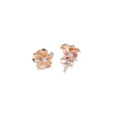 PINK ROSE STERLING SILVER 925 HAWAIIAN PLUMERIA FLOWER POST STUD EARRING CZ 12MM