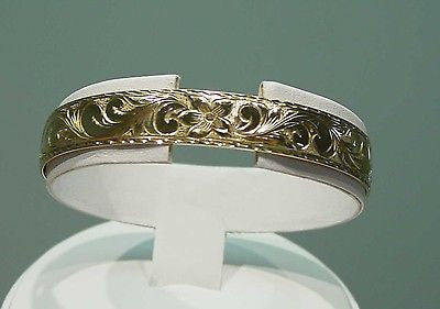 14K GOLD 10MM CUSTOM MADE HAWAIIAN PRINCESS CUFF BANGLE