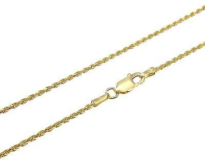 "1.4MM YELLOW GOLD ITALIAN SILVER 925 DIAMOND CUT ROPE CHAIN 16"" 18"" 20"" 22"" 24"""