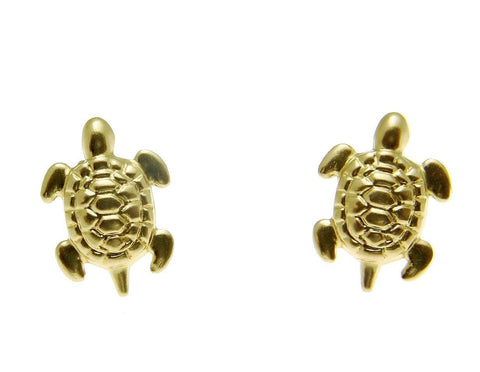 SOLID 14K YELLOW GOLD HAWAIIAN SEA TURTLE HONU STUD POST EARRINGS SMALL 8MM