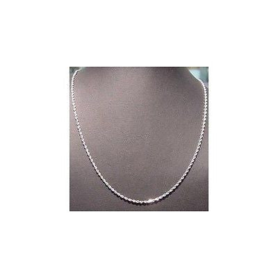 "1.5MM SOLID 14K WHITE GOLD DIAMOND CUT ROPE CHAIN NECKLACE 16"" 18"" 20"" 22"" 24"" 30"""
