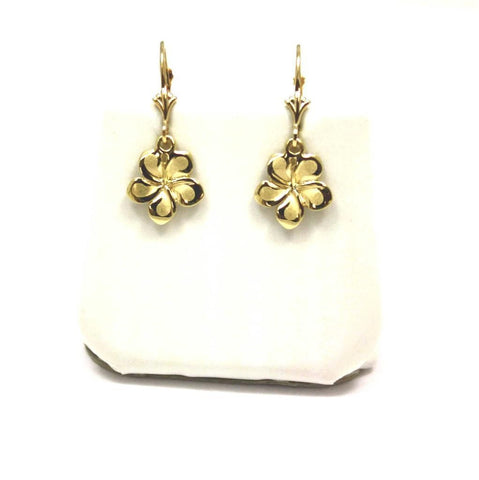 11MM SOLID 14K YELLOW GOLD HAWAIIAN FANCY PLUMERIA FLOWER EARRINGS LEVERBACK