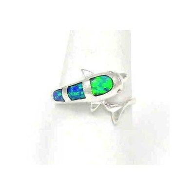 INLAY OPAL DOLPHIN RING STERLING SILVER 925 SIZE 5 1/2