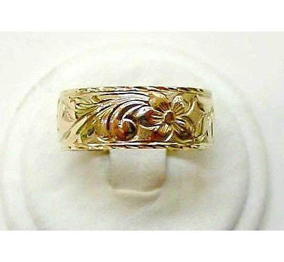 14K GOLD PERSONALIZED 8MM HAWAIIAN RING RAISED LETTER
