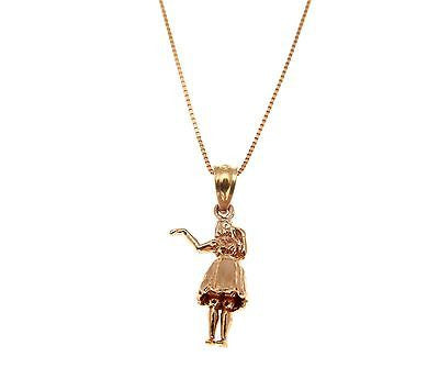 14K SOLID PINK ROSE GOLD HAWAIIAN MOVABLE DANCE HULA GIRL DANCER CHARM PENDANT