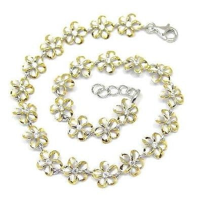 8MM SILVER 925 HAWAIIAN PLUMERIA FLOWER ANKLET RHODIUM YELLOW GOLD 2 TONE