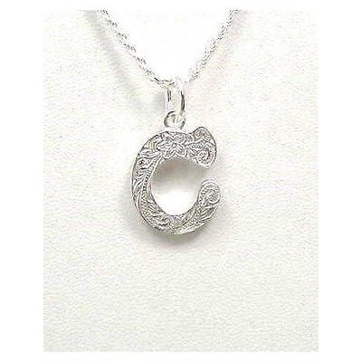 "925 HEAVY HAWAIIAN PLUMERIA SCROLL INITIAL ""C"" PENDANT"