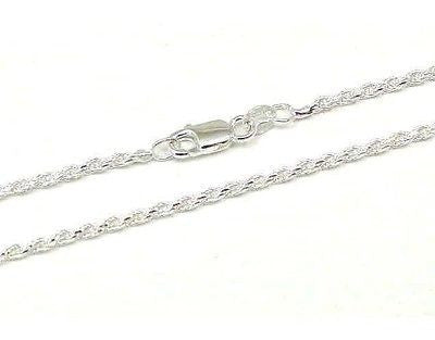 ITALIAN SILVER 925 DIAMOND CUT ROPE CHAIN 2MM 16""