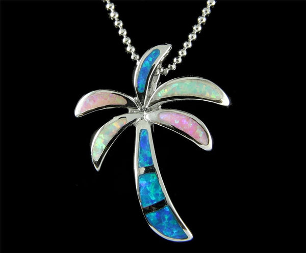Inlay Blue Pink White Tricolor Opal Hawaiian Palm Tree