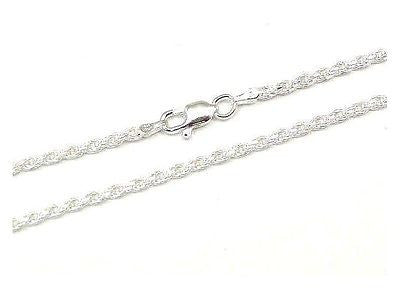 ITALIAN SILVER 925 DIAMOND CUT ROPE CHAIN 2.5MM 20""