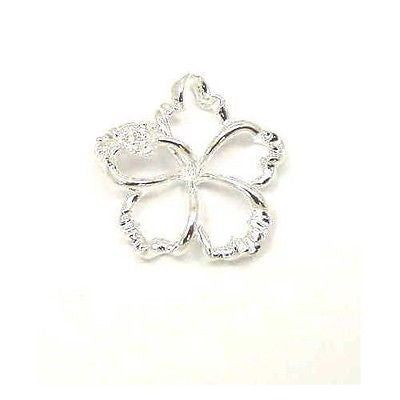 SILVER 925 HAWAIIAN OPEN FLOATING HIBISCUS FLOWER PENDANT 18MM
