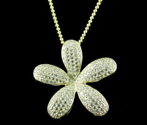 YELLOW GOLD ON SOLID 925 STERLING SILVER HAWAIIAN PLUMERIA SLIDE PENDANT CZ