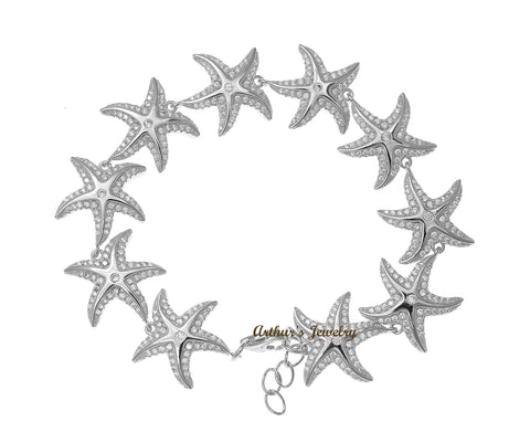 HEAVY SOLID 925 STERLING SILVER HAWAIIAN SEA STARFISH BRACELET CZ RHODIUM 7 INCH