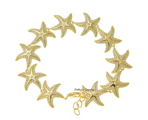 YELLOW GOLD PLATED 925 STERLING SILVER HAWAIIAN SEA STARFISH BRACELET CZ 7 INCH