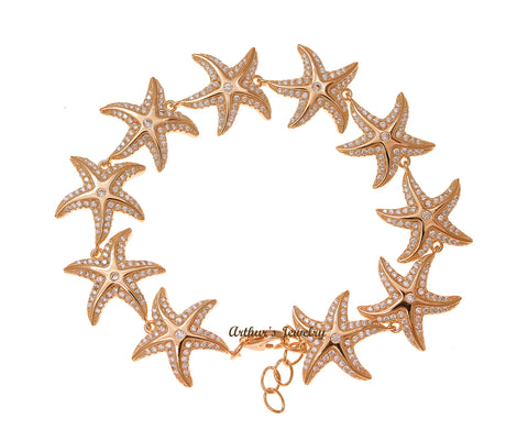 ROSE GOLD PLATED 925 STERLING SILVER HAWAIIAN SEA STARFISH BRACELET CZ 7 INCH
