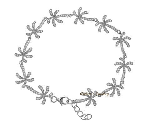 SOLID 925 STERLING SILVER HAWAIIAN PALM TREE LINK BRACELET CZ RHODIUM 7.5 INCH