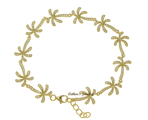 YELLOW GOLD PLATE 925 SILVER HAWAIIAN PALM TREE LINK BRACELET CZ 7.5 INCH