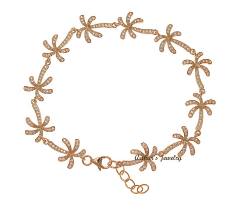 ROSE GOLD PLATED 925 SILVER HAWAIIAN PALM TREE LINK BRACELET CZ 7.5 INCH