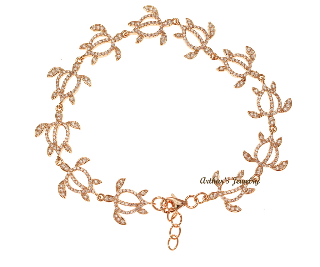 ROSE GOLD PLATED 925 STERLING SILVER HAWAIIAN HONU TURTLE BRACELET CZ 7.5 INCH