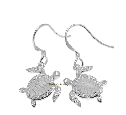SOLID 925 STERLING SILVER HAWAIIAN SEA TURTLE HONU HOOK EARRINGS CZ RHODIUM