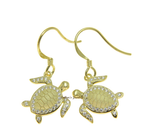 YELLOW GOLD ON 925 STERLING SILVER HAWAIIAN SEA TURTLE HONU HOOK EARRINGS CZ