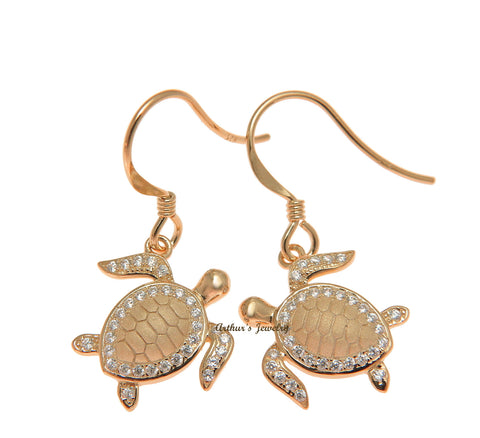 ROSE GOLD ON SOLID 925 STERLING SILVER HAWAIIAN SEA TURTLE HONU HOOK EARRINGS CZ
