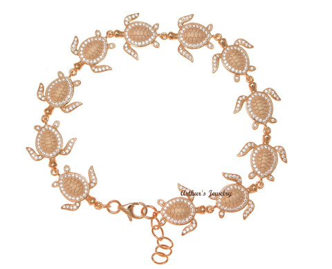 ROSE GOLD PLATED SOLID 925 SILVER HAWAIIAN SEA TURTLE LINK BRACELET CZ 7.5 INCH