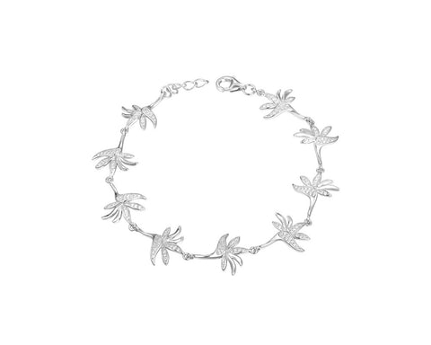 SOLID 925 STERLING SILVER HAWAIIAN BIRD OF PARADISE BRACELET CZ RHODIUM 7.5 INCH