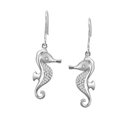 SOLID 925 STERLING SILVER HAWAIIAN SEAHORSE CZ WIRE HOOK EARRINGS RHODIUM