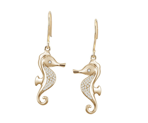 YELLOW GOLD ON SOLID 925 STERLING SILVER HAWAIIAN SEAHORSE CZ WIRE HOOK EARRINGS