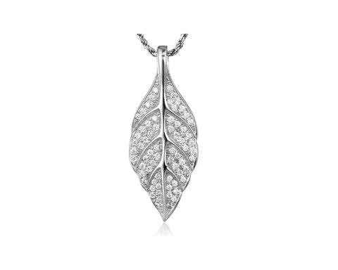 RHODIUM PLATED 925 STERLING SILVER HAWAIIAN MAILE LEAF PENDANT CZ 12.50MM