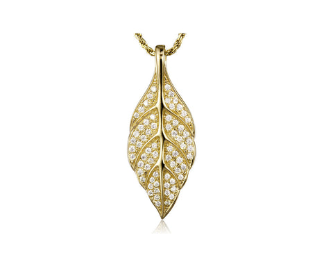 YELLOW GOLD PLATED 925 STERLING SILVER HAWAIIAN MAILE LEAF PENDANT CZ 12.50MM