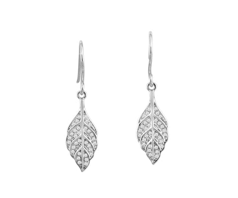 RHODIUM PLATED 925 STERLING SILVER HAWAIIAN MAILE LEAF CZ HOOK EARRINGS