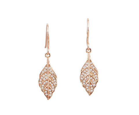 ROSE GOLD PLATED 925 STERLING SILVER HAWAIIAN MAILE LEAF CZ HOOK EARRINGS
