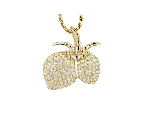 YELLOW GOLD PLATED 925 STERLING SILVER HAWAIIAN COCONUT SLIDE PENDANT CZ 17MM