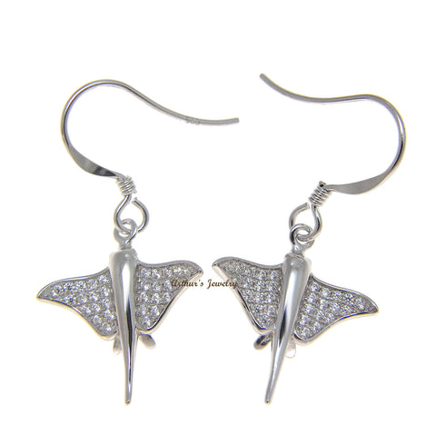 SOLID 925 STERLING SILVER HAWAIIAN STINGRAY FISH CZ RHODIUM WIRE HOOK EARRINGS