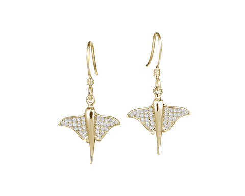 YELLOW GOLD ON SOLID 925 STERLING SILVER HAWAIIAN STINGRAY FISH CZ HOOK EARRINGS