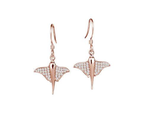 ROSE GOLD ON SOLID 925 STERLING SILVER HAWAIIAN STINGRAY FISH CZ HOOK EARRINGS