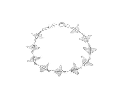 SOLID 925 STERLING SILVER HAWAIIAN STINGRAY FISH LINK BRACELET CZ RHODIUM 7 INCH