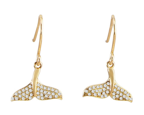 YELLOW GOLD PLATED 925 STERLING SILVER HAWAIIAN WHALE TAIL CZ HOOK EARRINGS