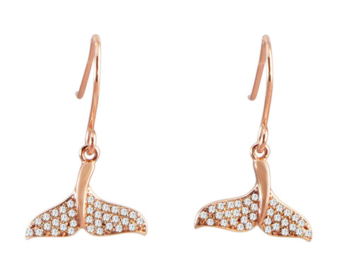ROSE GOLD PLATED 925 STERLING SILVER HAWAIIAN WHALE TAIL CZ HOOK EARRINGS