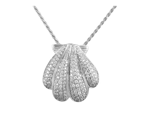 Rhodium plated 925 sterling silver Hawaiian coconut cz 17mm slide pendant