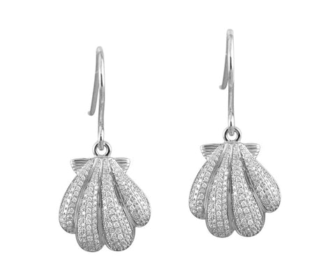 RHODIUM PLATED 925 STERLING SILVER HAWAIIAN SUNRISE SHELL CZ HOOK EARRINGS