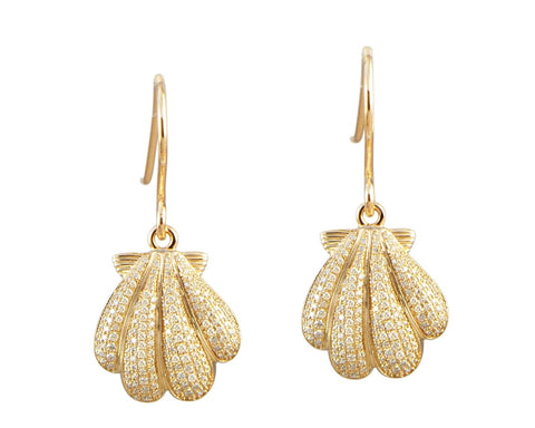 YELLOW GOLD PLATED 925 STERLING SILVER HAWAIIAN SUNRISE SHELL CZ HOOK EARRINGS