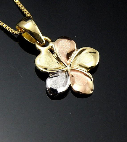 11MM SOLID 14K TRICOLOR GOLD FANCY HAWAIIAN PLUMERIA FLOWER CHARM PENDANT