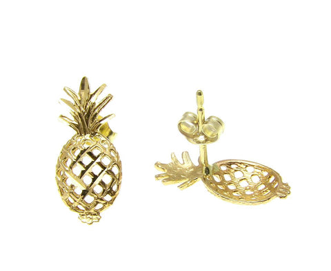 SOLID 14K YELLOW GOLD HAWAIIAN DIAMOND CUT PINEAPPLE STUD POST EARRINGS