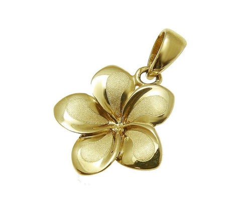 13MM SOLID 14K YELLOW GOLD HAWAIIAN FANCY TROPICAL PLUMERIA FLOWER CHARM PENDANT
