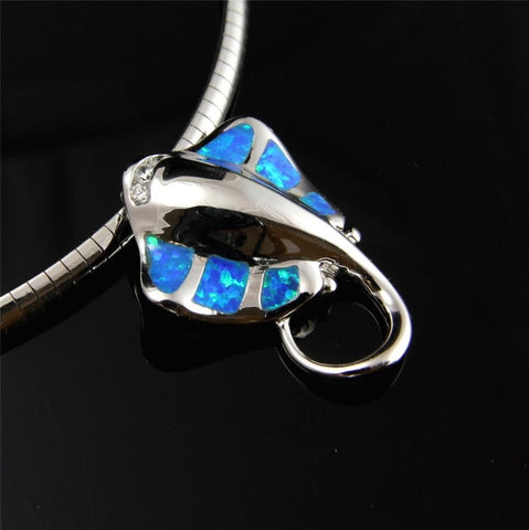 INLAY OPAL HAWAIIAN STINGRAY SLIDE PENDANT CZ SOLID 925 STERLING SILVER 22.60MM